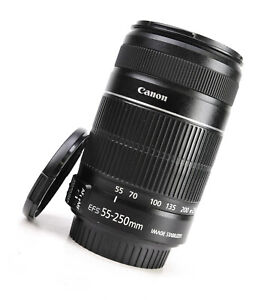 Canon EF-S 55-250mm F4-5.6 Image Stabilizer IS II AF Zoom Lens + F/R Caps - EXC