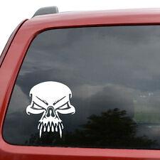 "Tribal Vampire Skull Car Window Decor Vinyl Decal Sticker- 6"" Tall White"