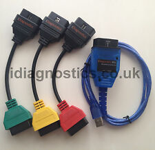 Fiat Alfa DIAGNOSTIC LEAD CABLE KKL VAG + 3 adapter cable UK NEW MULTIECUSCAN UK