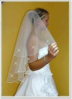 Two Tier Bridal Veil Elbow Length With Crystals and Comb Attached W-6