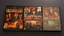 Lot Of 3 Pirates of the Caribbean Movies Dvds Johnny Depp Disney + bonus disc