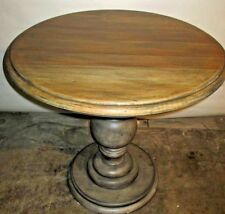 Round Accent Table Modern Farmhouse Restoration Hardware Look Gray Pedestal