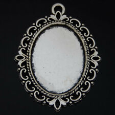 50621 Vintage Silver Alloy Lace Oval Cameo Setting Tray Crafts Jewelry 4pcs