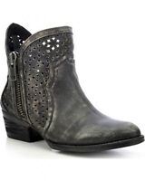 Womens Circle G Cut-Out Leather Ankle Zip Boot Style Q0001 FREE SHIP