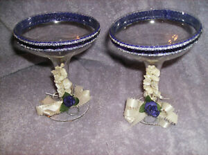 NEW 2 PC WEDDING CRYSTAL GLASS TOASTING GOBLETS WITH PURPLE DECOR NEW IN BOX!