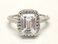 Emerald Cut CZ Halo Engagement Ring 14kt White Gold