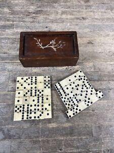 Set Of Large Antique Victorian Ebony & Bone Dominoes In Wooden Box.