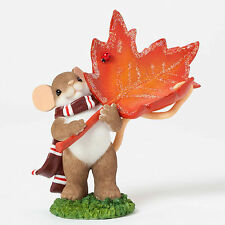 Enesco Charming Tails Holding Maple Leaf Nib Item# 4041167