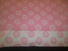 Tommy Hilfiger Twin Size Flat Sheet Pink White Medallion Circles