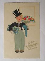 Geburtstag, Kinder, Blumen, Zylinder, Geschenk, 1930 ♥  (36600)