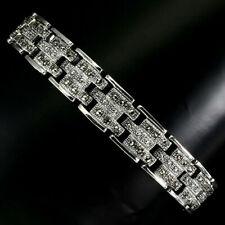Sterling Silver Genuine Round Cut Marcasite Bracelet 7 1/2 Inch