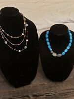 """LIA SOPHIA Lot of 2 Necklaces One Chunky & one 3 Tier New 16""""+"""