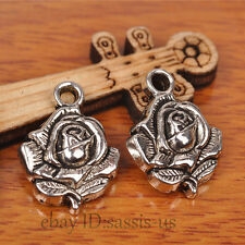 30pcs 20mm Charms Rose Flower Pendant Tibet Silver DIY Jewelry Charm Bail A7233