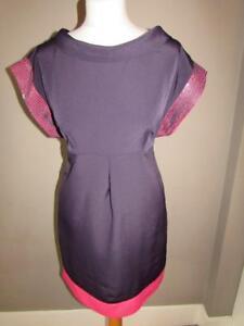 MARKS & SPENCER Ladies Purple & Pink Dress Collar Detail Sequin Trim Size 12 VGC
