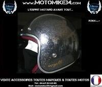 Casque Jet Rétro Vintage 3/4 Moto GRIS ANTHRACITE metal flake XS/S/M/L/XL