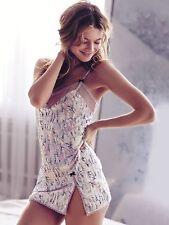 Victoria Secret lace trim satin slip signature print and sweat little dots