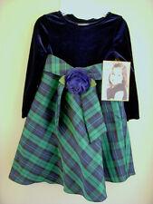 Dolly & Me Dress SET Sz 4 Navy Velveteen Top Plaid Taffeta Skirt