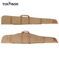 """Tourbon Vintage Shotgun Case 52"""" Soft Scoped Rifle Case Canvas Leather Gun Bag"""