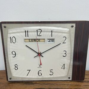 Vintage UNTESTED French Jaz Battery Wall Clock Original Condition