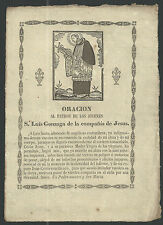 Grabado antiguo de San Luis Gonzaga andachtsbild santino holy card santini