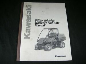 Kawasaki Utility Vehicle Warranty Flat Rate Manual Book Catalog