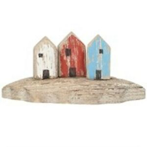 Beach Hut Trio Wood ornament Gisela Graham