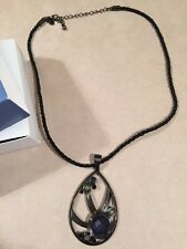 """Lia Sophia """"Stormy Sky"""" Necklace 18-21"""" Cut Crystals with Resin Hematite Black"""