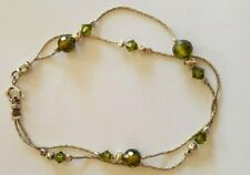 """Sterling Silver 925 Peridot Faceted Ball Bracelet 7.5"""""""
