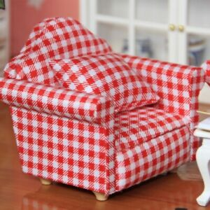 Durable Simulation Miniature Sofa with Pillow for 1:12 Dolls DIY Dollhouse