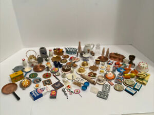 Vintage Lot of Kitchen Items Dishes Food Boxes Dollhouse Miniature 1:12