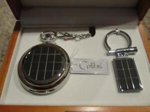 Colibri Black & 14K Gold Pocket Watch w Date & Day Chain & Key Ring Gift Set