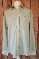 MENS TED BAKER SIZE 6 LONG SLEEVE BUTTON DOWN SHIRT STRIPED EMBROIDED EMBLEM