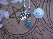 Pentagram Pentacle Goddess Mixed Stone Necklace Silver Wicca Symbol
