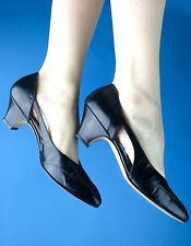 Johansen vtg 40s 50s Nib/Nos Unworn Black Leather cut-out petal heels! 9.5 N