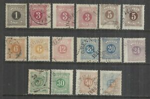 (W13) SWEDEN – 1874-82 Postage Dues Perf 13 Used Selection