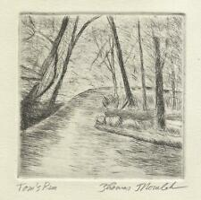 Tom's Run original hand printed drypoint of Cook Forest