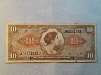 """$10 """"SERIES 641"""" (MILITARY PAYMENT CERTIFICATE) $10 """"SERIES 641"""" CRISPY!! V/F 30"""
