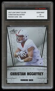 CHRISTIAN McCAFFREY 2017 LEAF DRAFT SILVER 1ST GRADED 10 ROOKIE CARD RC PANTHERS