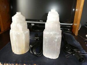 Himalayan Glow Natural Selenite Crystal Lamp--2 lamps for a bedroom