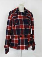 American Eagle Wool  Blend Pea Coat Jacket Plaid Multi Color Women's Size S/P