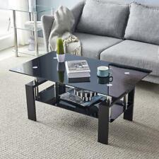 Rectangular Coffee Table Glass Shelf Living Room Wood Furniture Coffee Black US