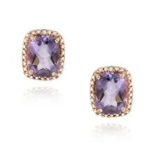 Rose Gold on Silver 4ct Amethyst & Diamond Accent Cushion Cut Earrings