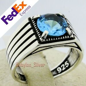 Solid 925 Sterling Silver Aquamarine Stone Turkish Handmade Men's Ring