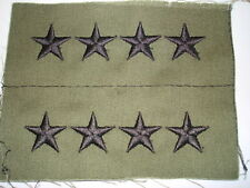 General Rank OD Green Sew On  Four Stars Set of 2 Army USA Made Embroidered New