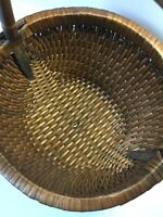 Woven Basket with handle bamboo Market Country Cottage Decor sturdy handmade
