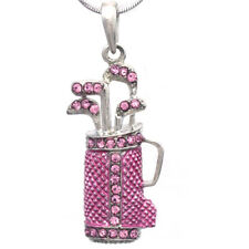 Light Pink Fuchsia Golf Clubs Bag Sports Ladies Pendant Necklace Silver Tone NEW