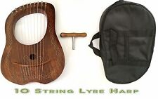 Rosewood Lyre Harp (10 Metal Strings) Celtic Knot Inlay with Free Bag and Key
