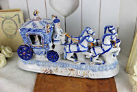 Vintage German porcelain carriage coach princess horses figurines statue group