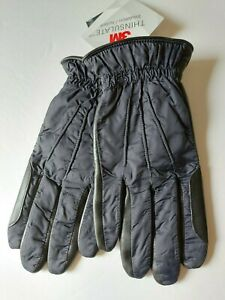 14th & Union Navy Leather & Nylon Gloves Mens Large Thinsulate Lined Touch