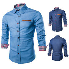 UK Men's Casual Shirt Slim Fit Long Sleeve Denim Jeans Dress Shirts T-shirt Tops